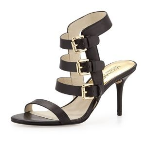 Michael Kors: Beverly Buckle-Strap Leather Sandals